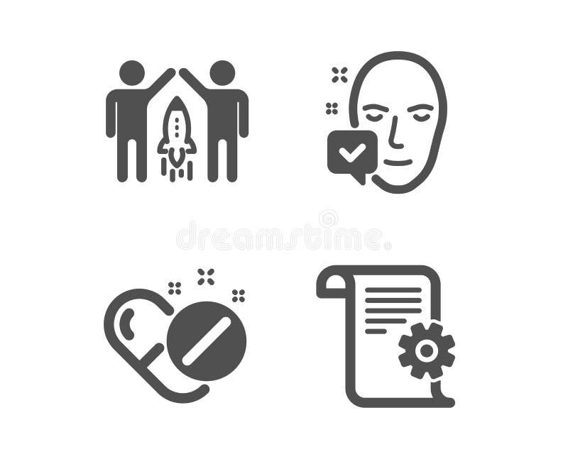 Сторона приняла, партнерство и медицинские значки таблеток Технический знак документации вектор иллюстрация вектора