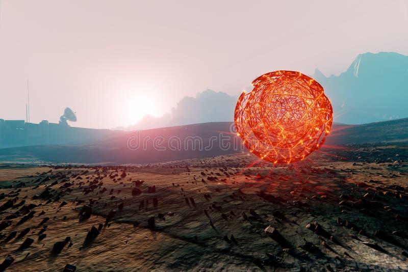 Сферически структура плавая в марсианский ландшафт иллюстрация вектора
