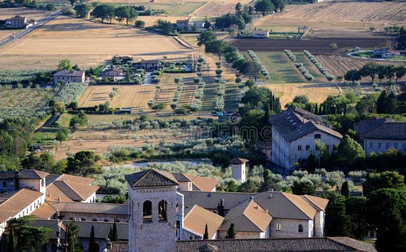 Сценарный взгляд городка Assisi стоковое изображение