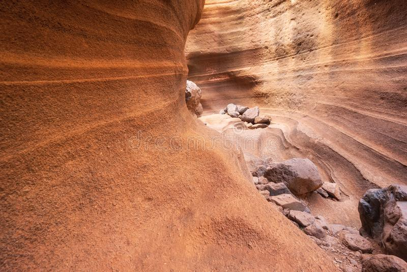 Сценарный каньон известняка, Barranco de las Vacas в Гран-Канарии, Канарских островах Испании стоковое изображение rf