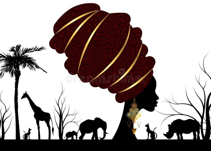 Сцена ландшафта силуэта африканского сафари животная и женщина портрета африканская в традиционном тюрбане, леопарде обруча Kente иллюстрация штока