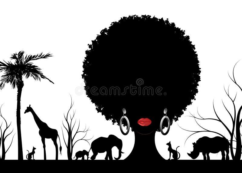 Сцена ландшафта силуэта африканского сафари животная и женщина портрета африканская, концепция сафари традиционные курчавые афро  иллюстрация штока