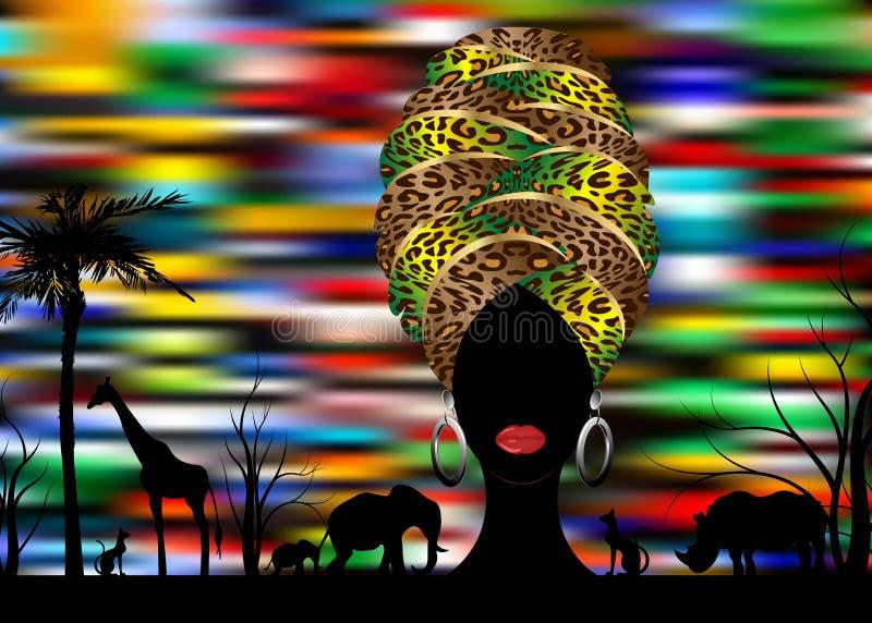 Сцена ландшафта силуэта африканского сафари животная и женщина портрета африканская в традиционном тюрбане, леопарде обруча Kente иллюстрация вектора