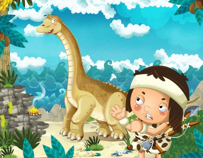 Сцена мультфильма с троглодитом около берега моря смотря некоторого счастливого и смешного гигантского диплодока динозавра иллюстрация штока