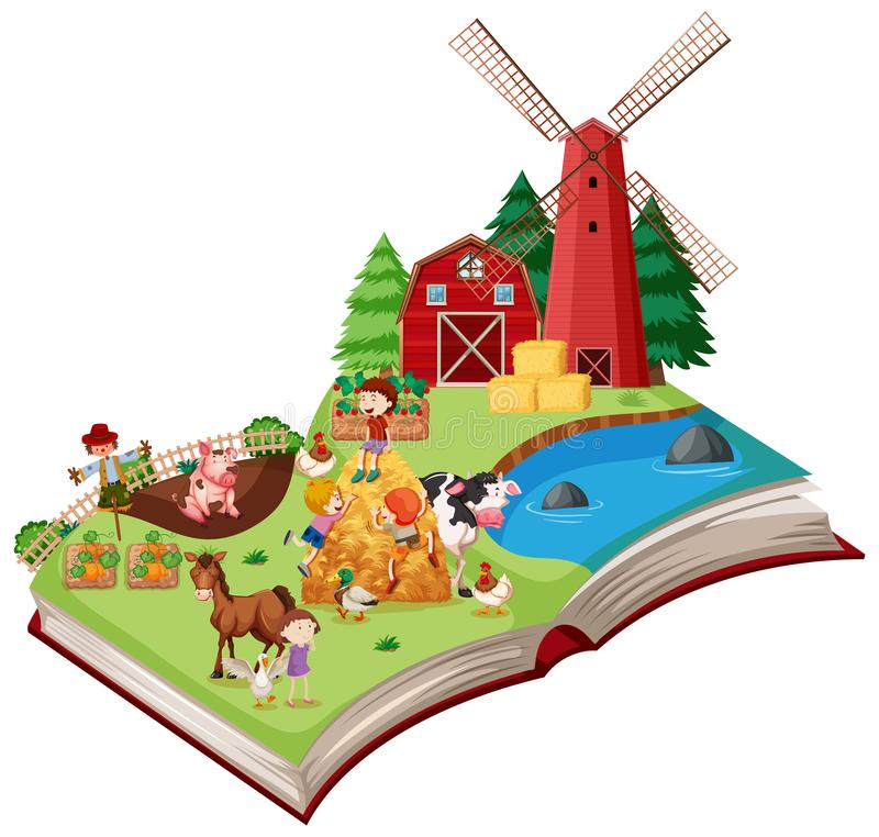 Сцена фермы хлопает вверх книга бесплатная иллюстрация