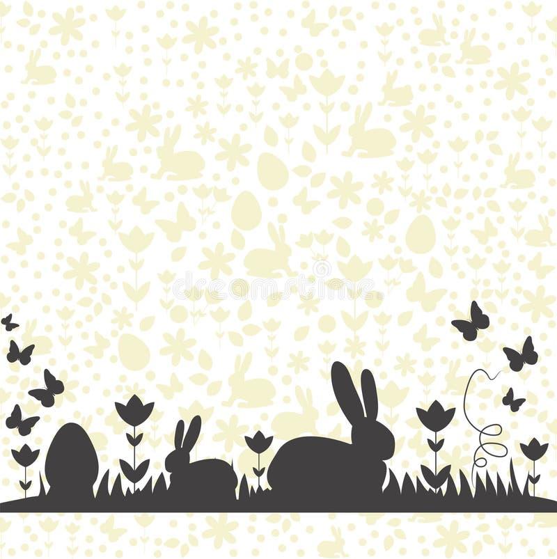 Счастливая карта пасхи с картиной предпосылки и зайчики на силуэтах луга бесплатная иллюстрация