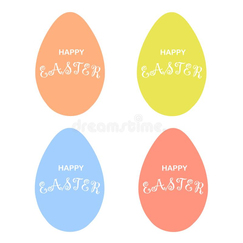 Счастливая пасха желтая, пинк, голубое, красное яйцо Знамя оформления установило изолированный объектом элемент дизайна бесплатная иллюстрация