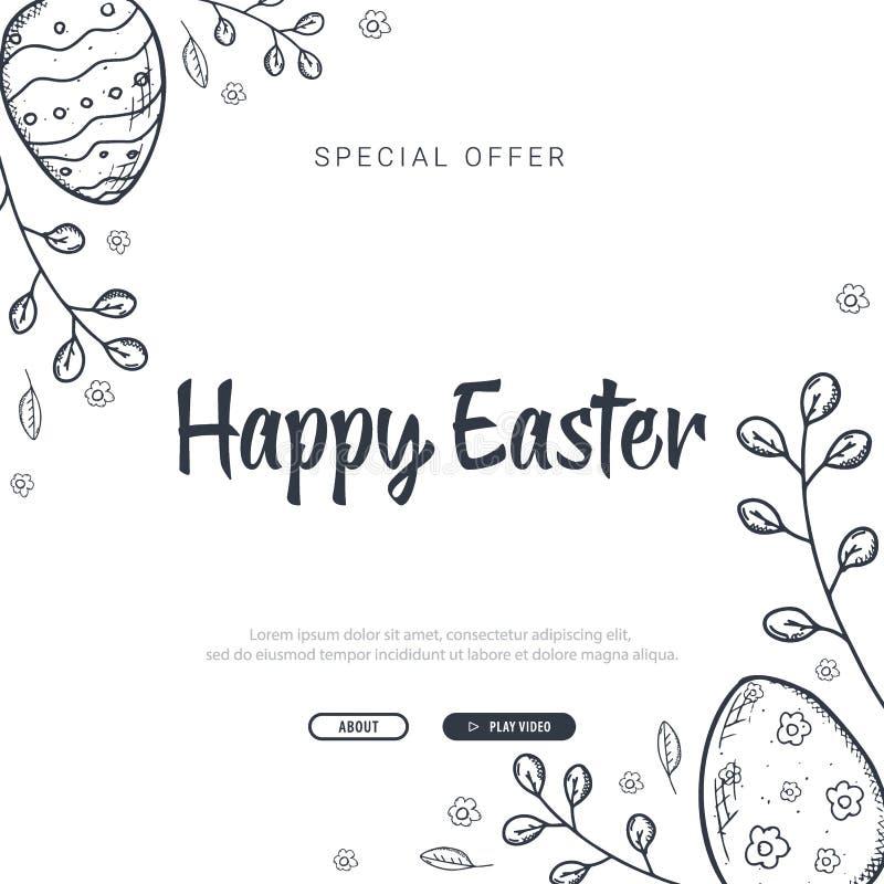 Счастливая предпосылка пасхи с традиционными украшениями эскизов Приветствие с покрашенными яйцами, кролик пасхи иллюстрация штока