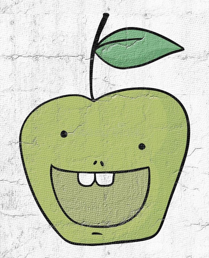 Счастливая притяжка яблока иллюстрация штока