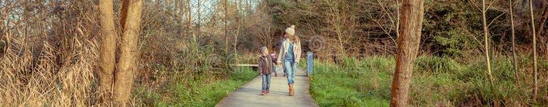 Счастливая семья идя совместно держащ руки в лесе стоковая фотография