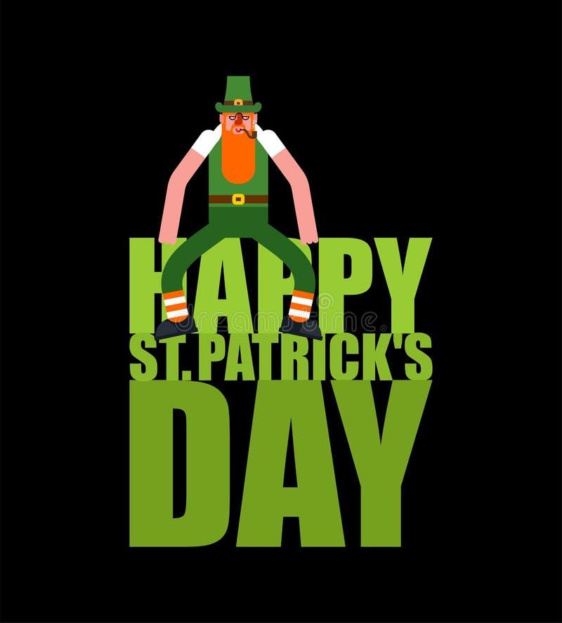 Счастливые литерность и лепрекон дня St Patricks Ирландский праздник Карлик в зеленой шляпе иллюстрация штока