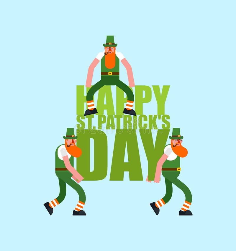 Счастливые литерность и лепрекон дня St Patricks Ирландский праздник Карлик в зеленой шляпе иллюстрация вектора