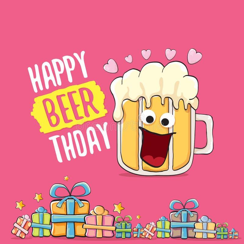 Счастливые поздравительная открытка или печать вектора Beerthday Плакат торжества партии с днем рождений с в стиле фанк характеро иллюстрация штока