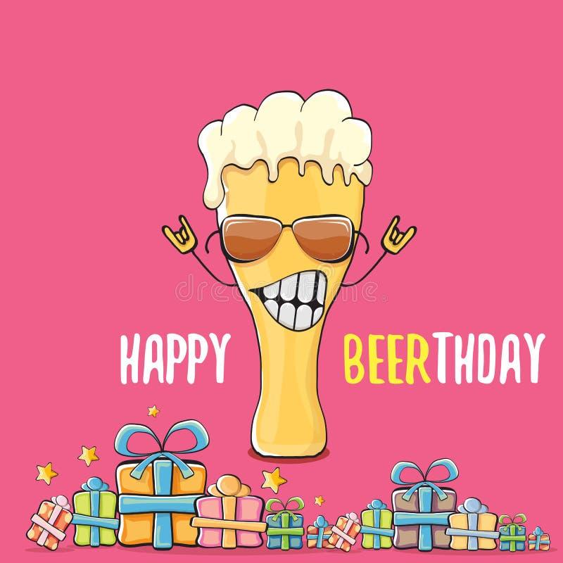 Счастливые поздравительная открытка или печать вектора Beerthday Плакат торжества партии с днем рождений с в стиле фанк характеро бесплатная иллюстрация
