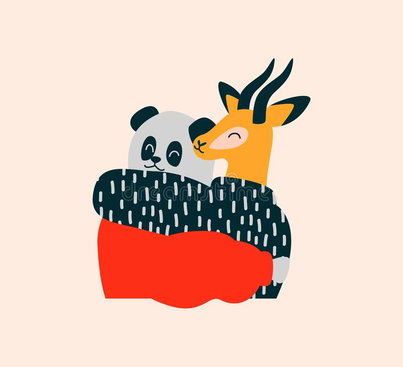 Счастливые друзья дикого животного обнимают на изолированной предпосылке иллюстрация вектора