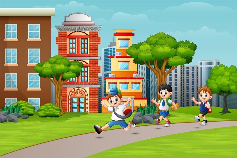 Счастливые ребята школьного возраста бежать на дороге иллюстрация штока