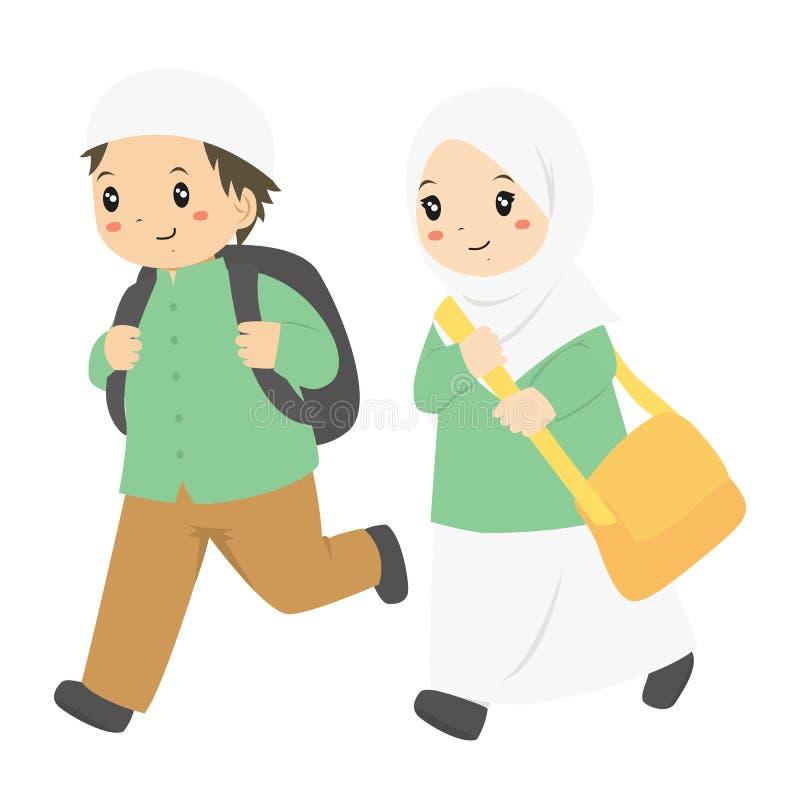 Счастливый мусульманский вектор мальчика и девушки идущий иллюстрация вектора