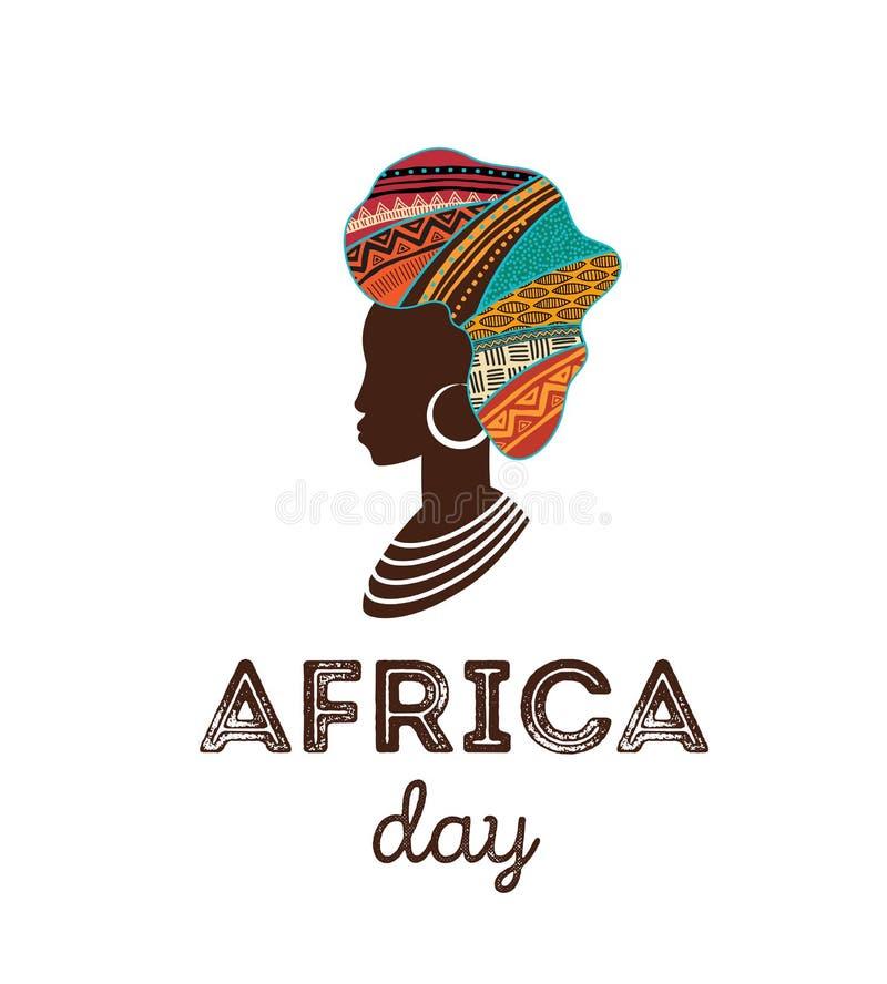 Счастливый день Африки Плакат вектора, знамя, карта иллюстрация штока
