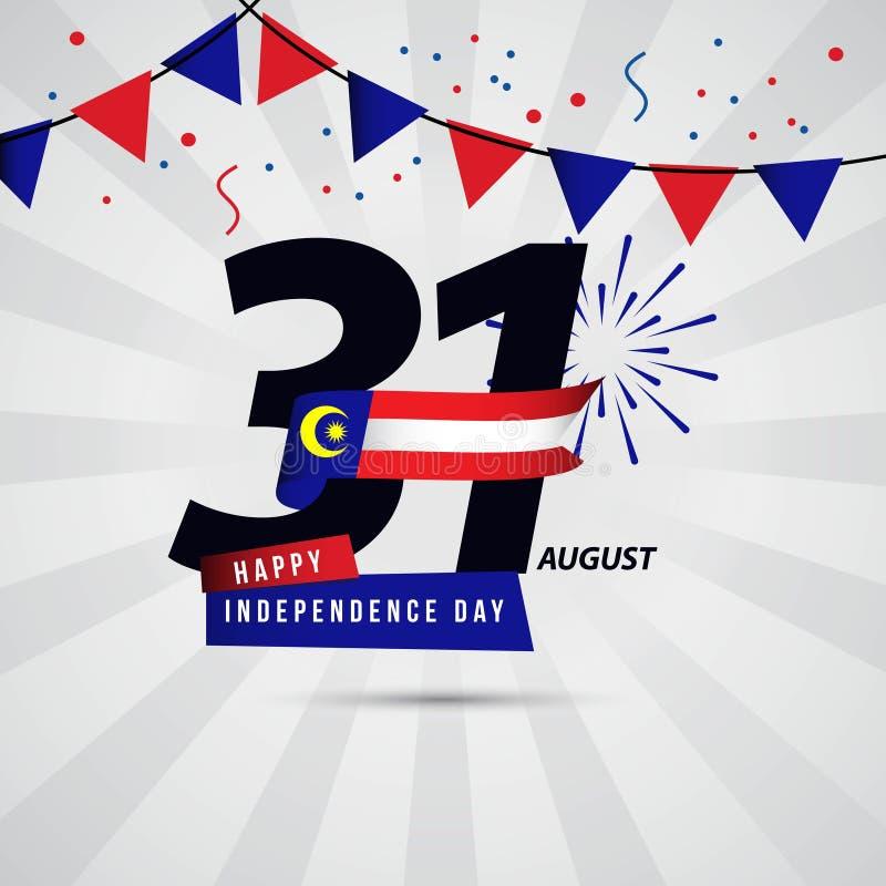Счастливый дизайн шаблона вектора 31-ое августа Дня независимости Малайзии иллюстрация вектора