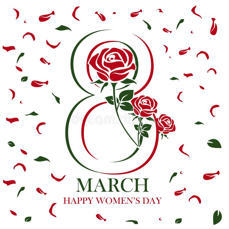 Счастливый дизайн текста дня women's с розовыми цветками бесплатная иллюстрация