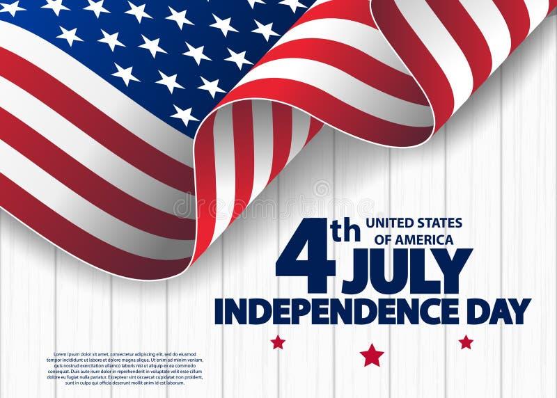 Счастливое 4-ая из США -го поздравительной открытки Дня независимости в июле с развевать американский национальный флаг четвертое бесплатная иллюстрация