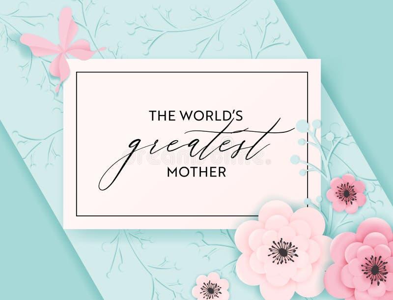 Счастливое знамя праздника дня матерей Дизайн отрезка бумаги весны поздравительной открытки дня матери здравствуйте с цветками и  бесплатная иллюстрация