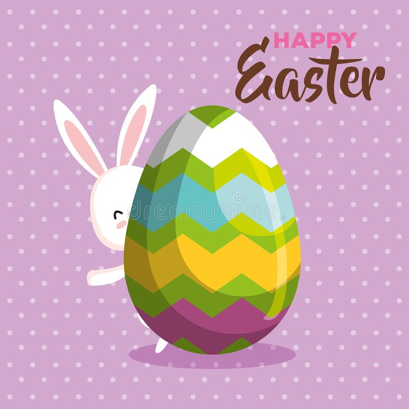 Счастливое пасхальное яйцо задней части кролика с диаграммами украшением иллюстрация штока