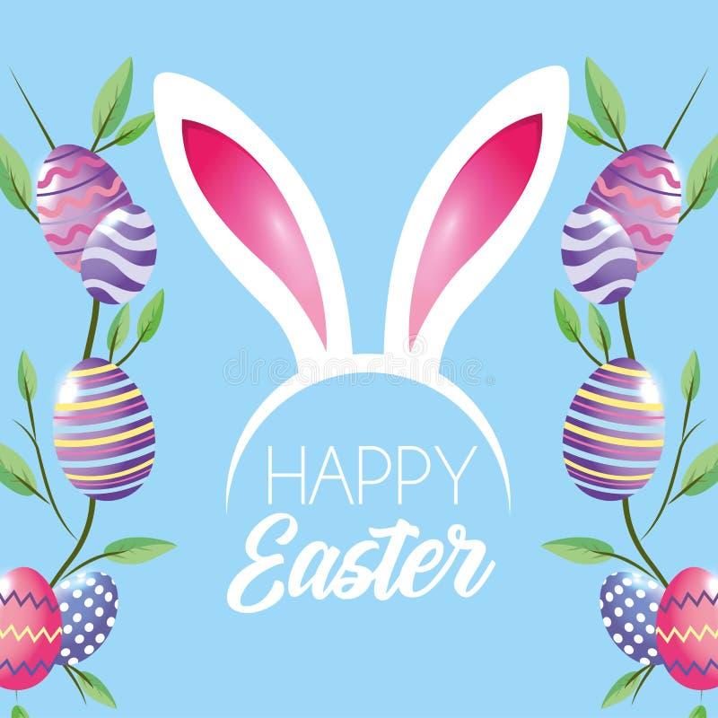 Счастливое украшение пасхальных яя с diadem листьев заводов и ушей кролика иллюстрация штока