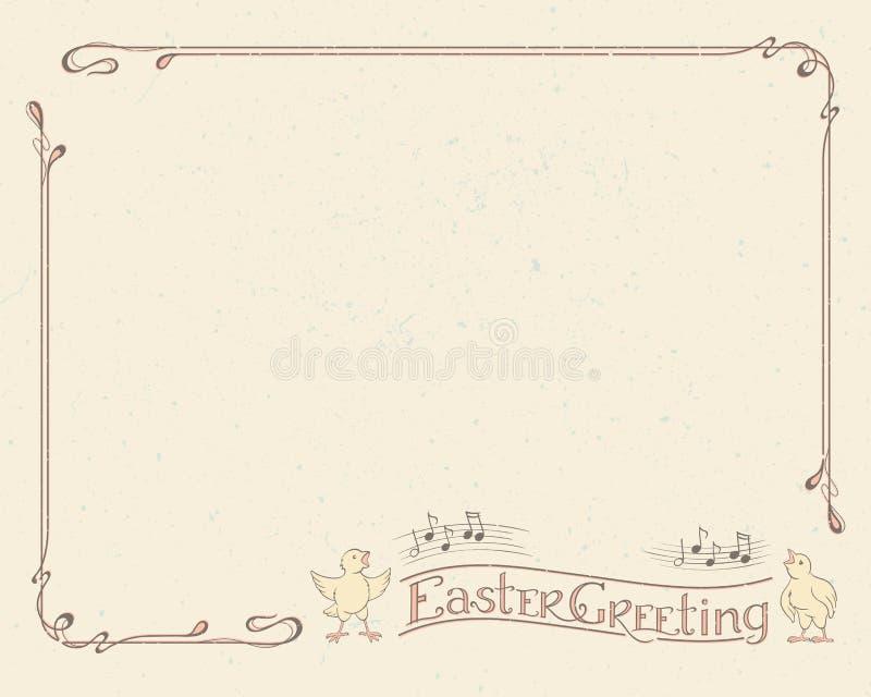 Счастливое оформление пасхи приветствуя, винтажная рамка иллюстрация штока