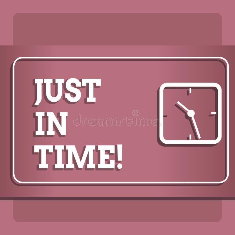 Схематический показ сочинительства руки как раз вовремя Приезжать фото дела showcasing точно на пунктуальность часа необходимую иллюстрация вектора