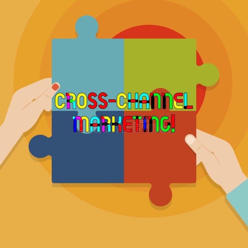 Схематическое сочинительство руки показывая перекрестный маркетинг канала Текст фото дела включая с клиентом через каждое цифрово иллюстрация вектора