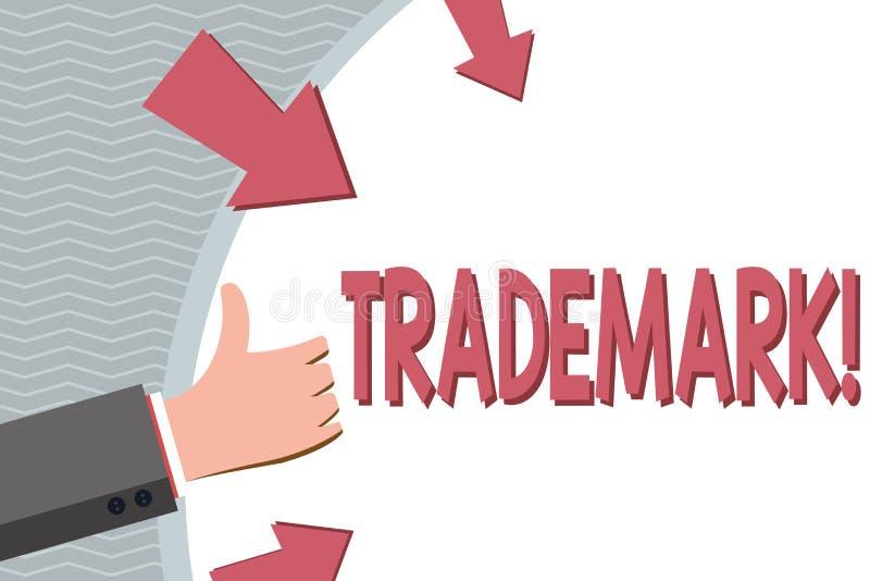 Схематическое сочинительство руки показывая товарный знак Фото дела showcasing законно зарегистрированная интеллектуальная собств иллюстрация штока