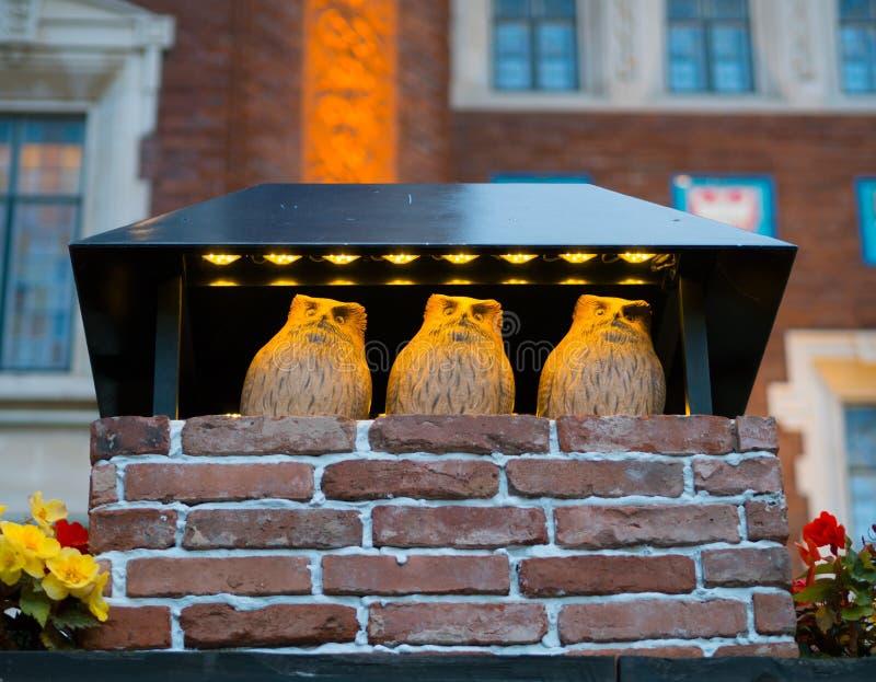 3 сыча моделируют для украшения на парке Shiroi Kobito стоковая фотография rf
