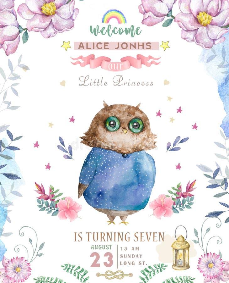 Сыч мультфильма акварели милый приветствие карточки младенца милое Набор цветков Boho и флористических букетов с днем рождения Пр бесплатная иллюстрация