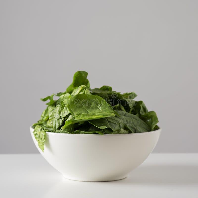 Сырцовые листья шпината в белом шаре стоковое изображение