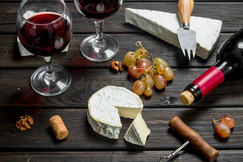 Сыр бри с красным вином, гайками и виноградинами стоковая фотография rf