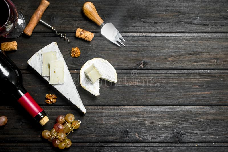 Сыр бри с красным вином, гайками и виноградинами стоковая фотография