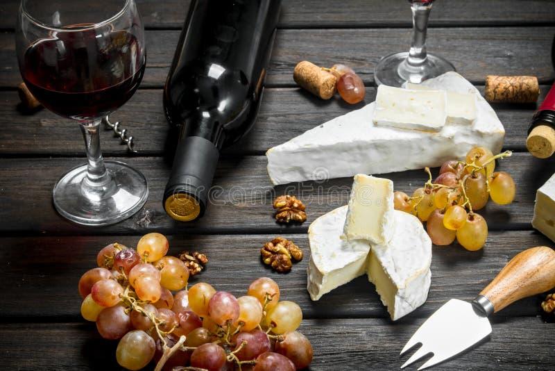 Сыр бри с красным вином, гайками и виноградинами стоковые изображения rf