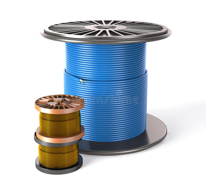 Ð¡able is on the reel. The cable is on the reel on white background stock illustration