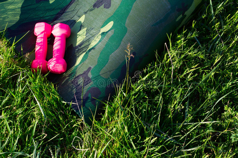 Ð¡amouflage yoga mat with two pink dumbells in nature. Ð¡amouflage yoga mat with pink dumbells in nature stock photography