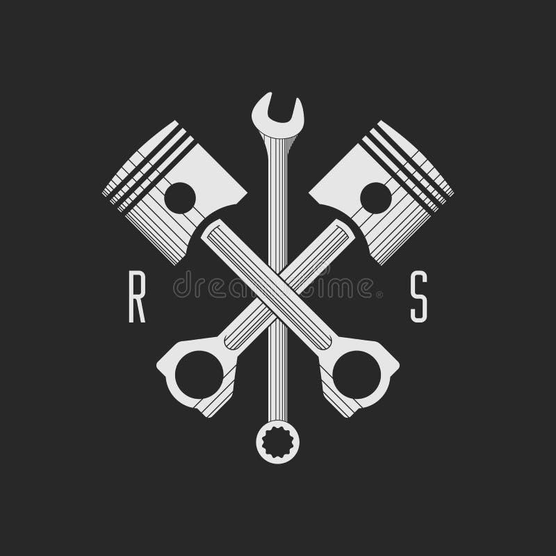 Сar or bike workshop logo template (concept). Vector illustration. royalty free illustration