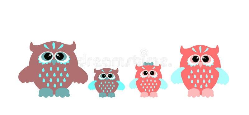 Ð¡artoon owls. Set of cartoon owls. Cute vector owl family stock illustration