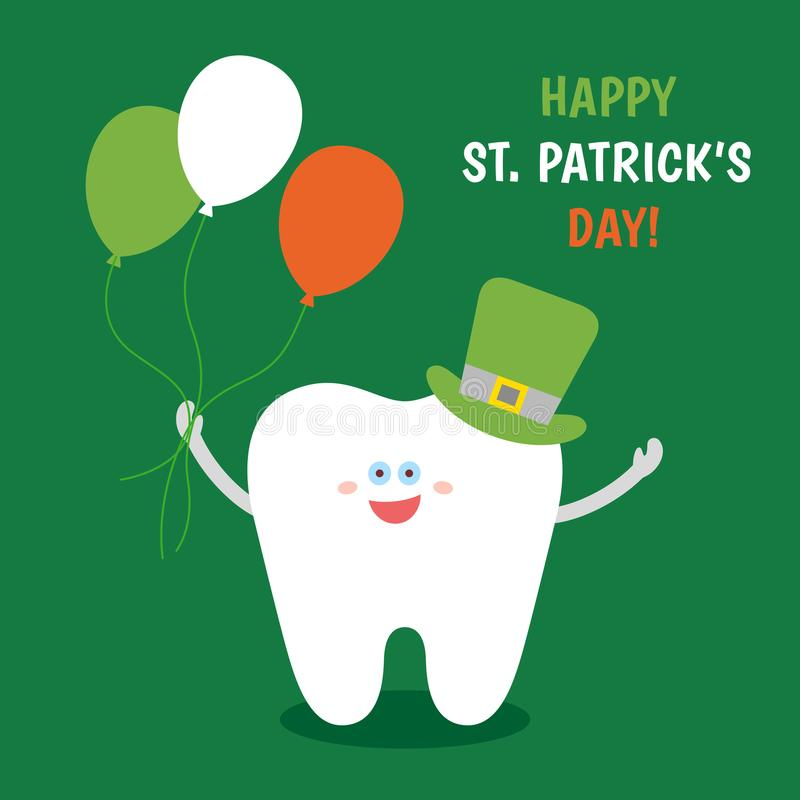 Ð¡artoon tooth in St. Patrick`s hat with balloons colors of the Irish flag on green background. stock image