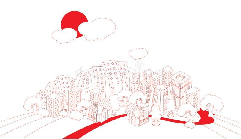 сartoon town. Painted City background illustration