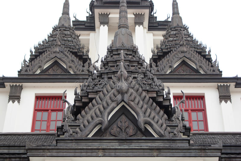 Ð¡arved oriental buildings in Bangkok temple. Thailand royalty free stock photos