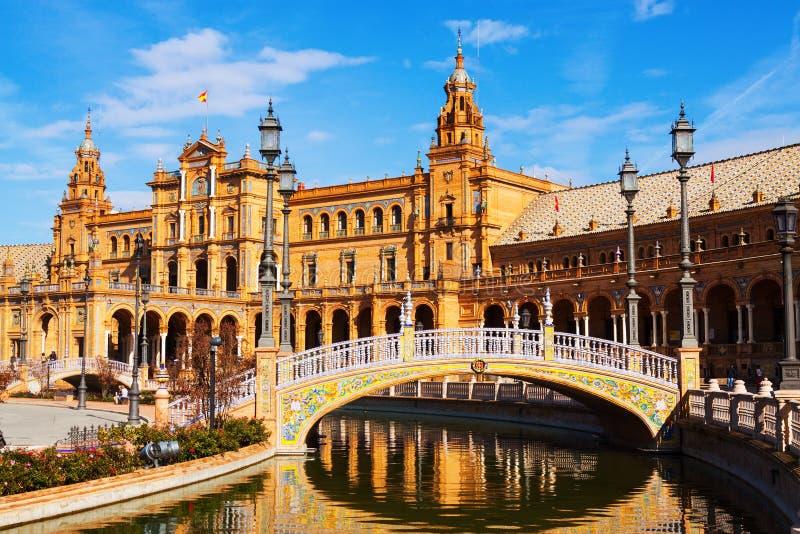 сentral building and bridge at Plaza de Espana. Sevilla, Spain. Sunny view of сentral building and bridge at Plaza de Espana. Sevilla, Spain stock images