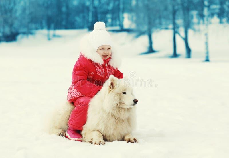 сhild and white Samoyed dog walking in winter royalty free stock photos
