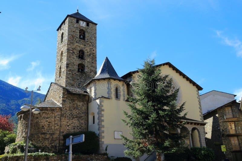 Сhurch of St. Stephen Sant Esteve from Plaça Príncep Benlloch in Andorra la Vella, Principality of Andorra. stock photos