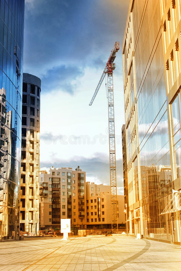 Ð¡ity Landscape. Business Center. Construction. Real Estate. Saint Petersburg Plaza Business Centre. St. Petersburg, Russia stock image