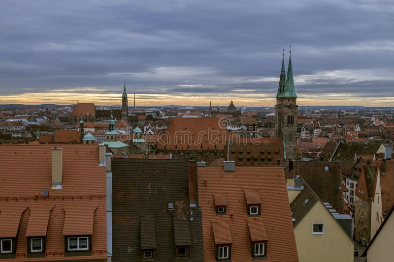 Panoramic view of the historic city Nuremberg, on a cloudy afternoon. Bavaria, Germany. royalty free stock images